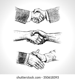 People shaking hands. Set of hand gestures. Retro styled design elements. Set of vintage style pen and ink illustrations