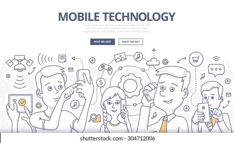 People share digital information with mobile devices. Doodle design style concept of mobile technology, wireless communication Linear style illustration for web banners, hero images, printed materials