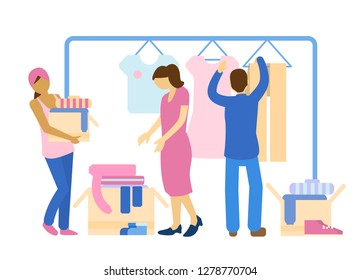 People sharing clothes. Sharing economy concept. Charity and donation concept.
