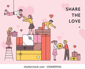 People sharing each other stacked gift boxes. Promotion Poster Concept. flat design style minimal vector illustration