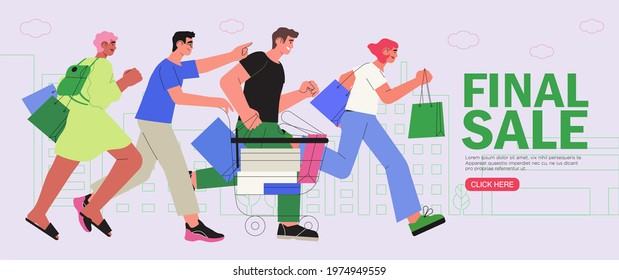 People shop online. E-commerce and online shopping. Man push shopping cart and woman holding boxes or presents. Special offer or big seasonal sale, discounts banner, flyer, web or landing page.