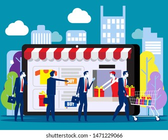People shoping online. Concept with happy customers buying and making pay ments with smarthphones, E-commerce advertising vector illustration.