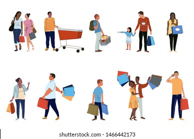 People shoppers set flat vector characters set