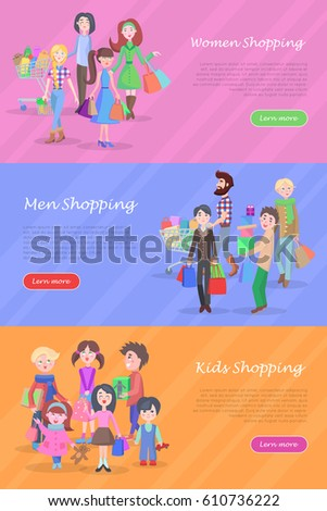 5c0612142d People shopping banners set. Group of joyful women, man, and kids make  purchases flat vector illustrations. Horizontal concepts with male and  female cartoon ...