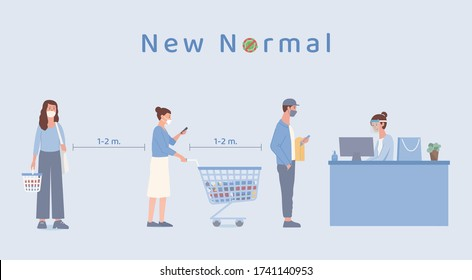 People with shopping cart and holding basket standing standing in queue in the supermarket for waiting payment at counter cashier. The new normal about prevent Covid-19 spread.