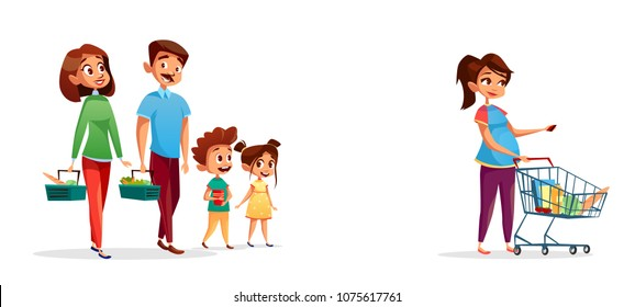 People with shopping carts vector illustration of family of man and pregnant woman with children in supermarket or grocery shop. Flat isolated people buying products in supermarket store