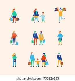 People shopping at christmas time. Christmas family, couple shopping idea concept. People holding shopping bag.