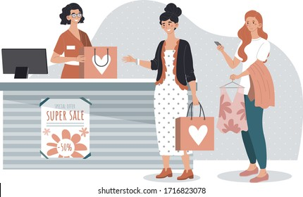 People shopping in fashion store, woman buying clothes in boutique, vector illustration. Sale in brand apparel shop, friendly cashier at checkout counter. Customer service, cartoon character assistant
