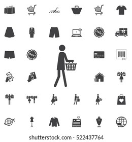 People shopping icon. Universal Shop set of icons for web and mobile