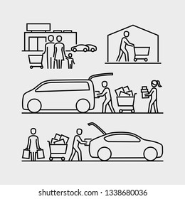 People shopping icons. Person loading goods into a car trunk