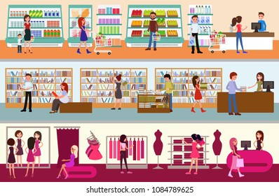 People shopping at the mall. Supermarket, a boock store, a clothing store. Happy customers. A mall Interior set of the vector illustrations.