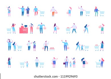 People shopping at mall or supermarket. Flat vector character set.