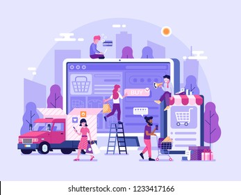 People shopping online concept with happy customers buying and making payments with smartphones. Internet digital store banner with man and woman on shopping. E-commerce advertising illustration.