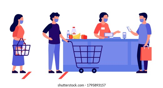 People shopping, queuing. Contactless mobile payment for purchases. Social distancing and protective masks. Checkout, supermarket store counter cashier and shoppers with shopping cart of food. Vector