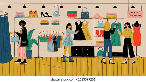 People shopping in retail store for clothes, fashion boutique