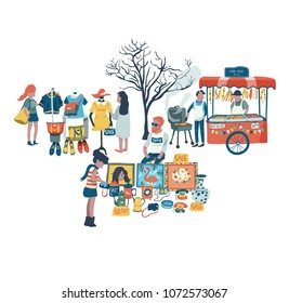 People shopping and selling clothes, secondhand stuffs and foods at the market fair, all in colorful doodle cartoon flat design, illustration, vector, on white background