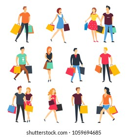 People shopping with shop bags vector cartoon flat isolated icons set