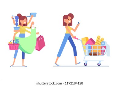 People Shopping in supermarket. Flat Vector women with shopping bags and shopping cart isolated on white. Happy shopper. Online shopping.