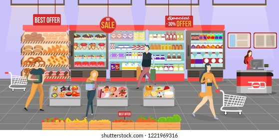 People shopping at the supermarket. Shop interior on the checkout with different sections - fruits, meat, cheese and milk products. Big shopping mall. Shelves with products and drinks.