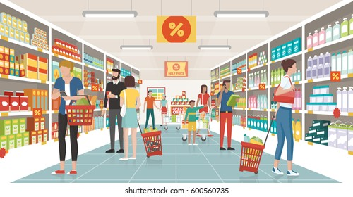 People shopping at the supermarket, they are choosing products on the shelves and pushing carts or shopping baskets