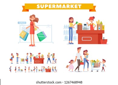 People Shopping in supermarket vector set. Flat Woman cashier and customers. Family shopping together.  Big sale. Flat vector illustration.