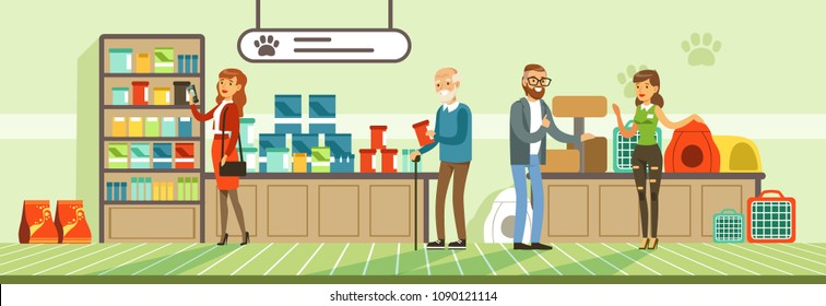 People shopping for their pets at pet shop, visitors buying food products and medicaments vector Illustration in flat style