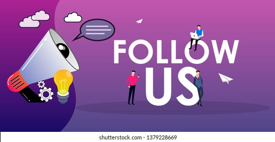people shout on megaphone with Follow Us word concept vector illustration with character hand shake, landing page, template, ui, web, mobile app, poster, banner, flyer