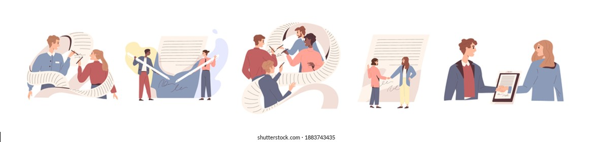 People signing paper and digital contract vector flat illustration. Set of scenes with entrepreneurs making deal. Concept of agreement conclusion, business partnership, documentary coherence isolated