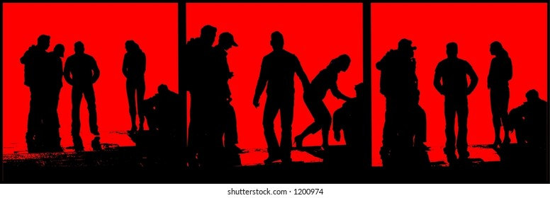 People silhouette black and red