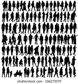 people silhouette black vector girl and man walking illustration