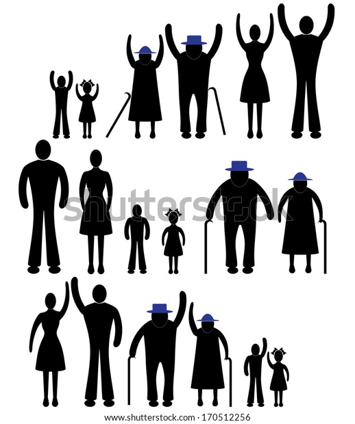 People silhouette family icon. Happy children, old man, woman grandchildren, parent together sign symbol pictogram person vector
