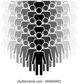 People silhouette team set - isolated vector illustration