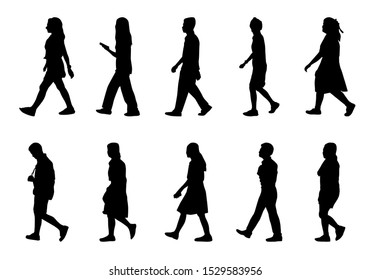 People silhouette walking on white background, Black men and women vector set, Isolate shape group girl and boy, Shadow different human illustration
