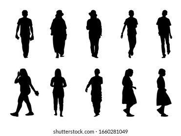 People silhouette walking on white background, Black men and women vector set, Isolate different human illustration