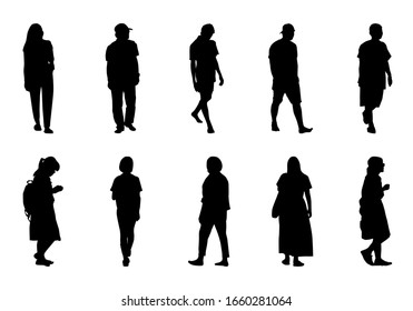 People silhouette walking set, Shadow women and men vector collection on white background