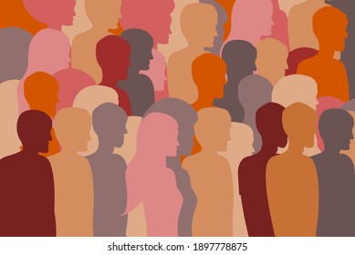 People silhouettes, brown, pink, brown and orange color palette. Diversity concept.