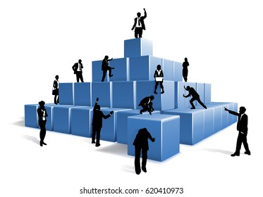 People silhouettes business team working together using big building blocks to make a structure. Concept for teamwork