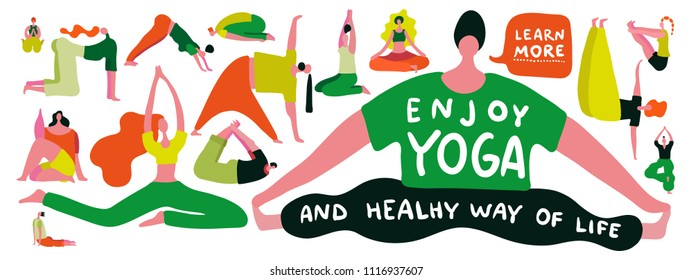 People silhouettes doing yoga on white background flat vector illustration