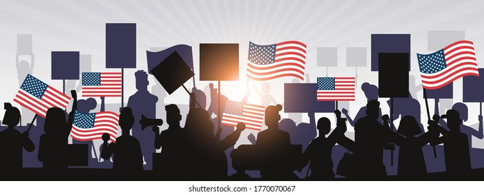 people silhouettes holding united states flags celebrating american independence day holiday 4th of july banner horizontal portrait vector illustration