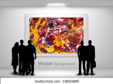 People silhouettes looking at the abstract painting hanging on gallery wall. Fully editable eps10