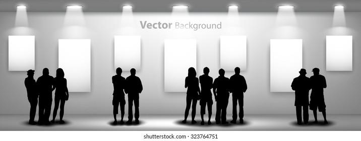 Des silhouettes de gens regardant sur le cadre vide avec des lumières pour les images et la publicité. Concept idéal pour promouvoir un produit ou un service. Ps10 entièrement modifiable