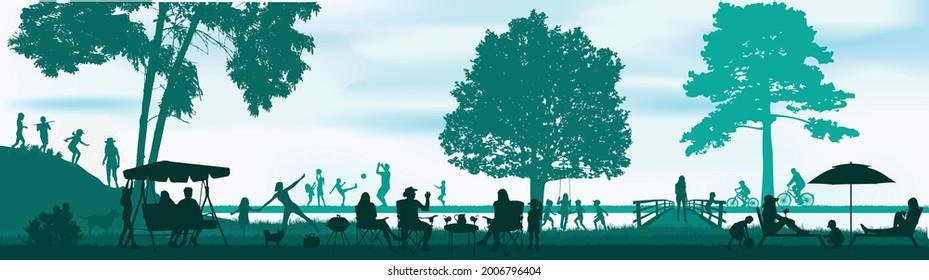Menschen Silhouetten in der Natur. Konzeptionelle Arbeit.
