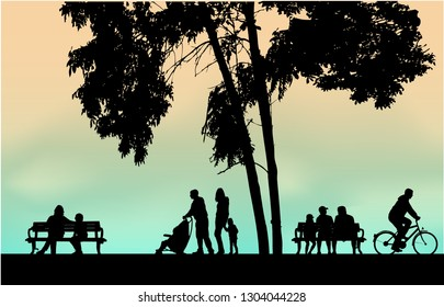 People silhouettes urban background.