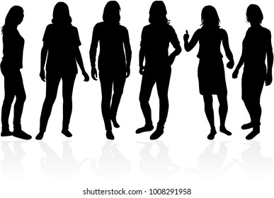 People silhouettes.Vector works .