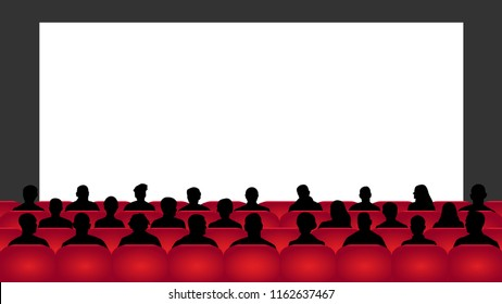 People sit cinema hall. Audience cinema, theater. Crowd of people in the auditorium, silhouette vector, spectators