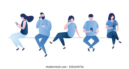 People sit in different poses,male and female characters with smartphones,calls and chatting with smart gadgets,trendy style vector illustration