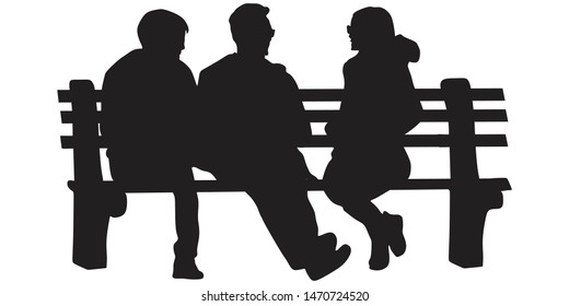 People sit on a park bench and talk