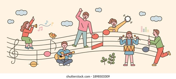 People sit on sheet music and sing and play musical instruments. flat design style minimal vector illustration.