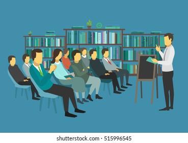 People sit in a room and listen speech speaker.
