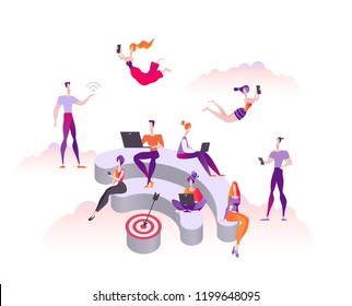 People sit and stand on the 3d podium in the form of wi-fi. Public free wifi hotspot zone. Modern flat vector illustration isolated on white background